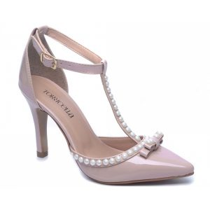 Sapato Scarpin Pérolas Bege