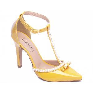 Sapato Scarpin Pérolas Amarelo