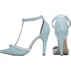 Sapato Scarpin Pérolas Azul