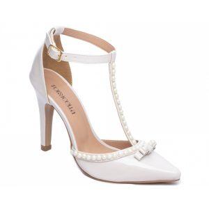 Sapato Scarpin Pérolas Off White